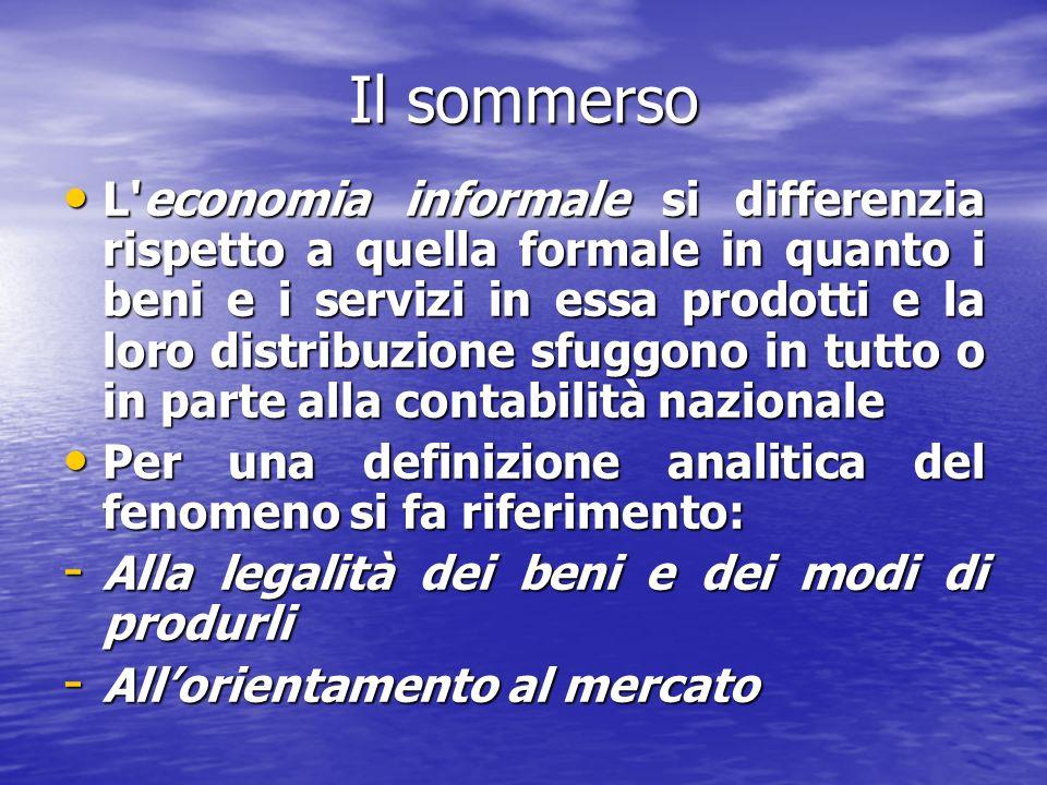 Il sommerso L'economia informale si differenzia rispetto a quella formale in quanto i beni e i servizi in essa prodotti e la loro distribuzione sfuggo