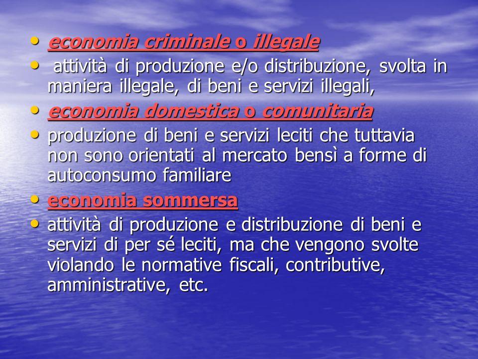 economia criminale o illegale economia criminale o illegale attività di produzione e/o distribuzione, svolta in maniera illegale, di beni e servizi il