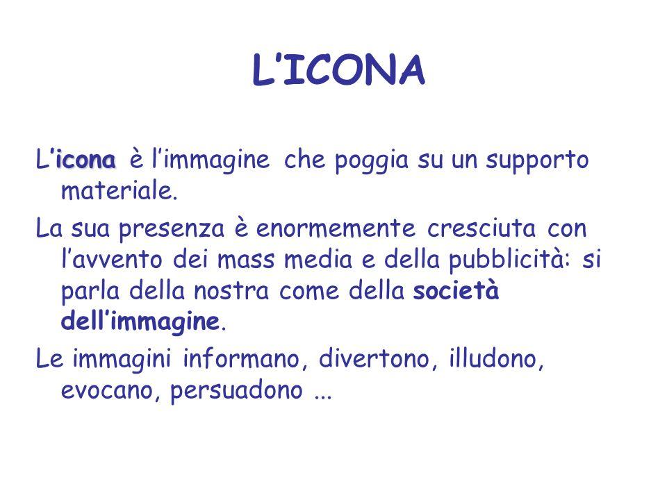LICONA icona Licona è limmagine che poggia su un supporto materiale. La sua presenza è enormemente cresciuta con lavvento dei mass media e della pubbl