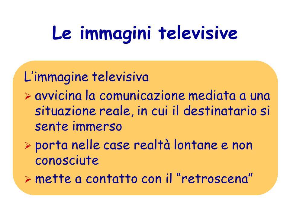 Le immagini televisive Limmagine televisiva avvicina la comunicazione mediata a una situazione reale, in cui il destinatario si sente immerso porta ne