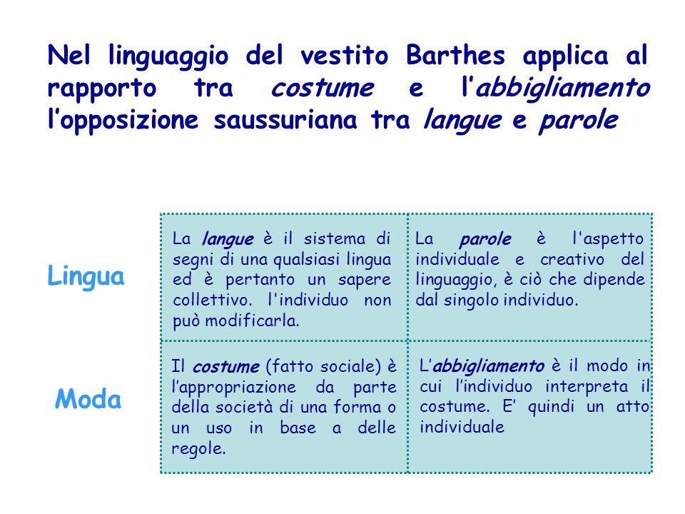 Lingua Moda La langue è il sistema di segni di una qualsiasi lingua ed è pertanto un sapere collettivo. l'individuo non può modificarla. Il costume (f