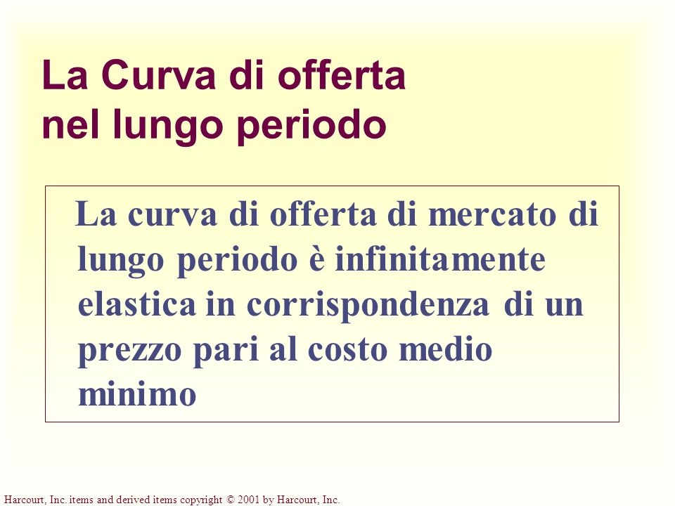 Harcourt, Inc. items and derived items copyright © 2001 by Harcourt, Inc. La Curva di offerta nel lungo periodo La curva di offerta di mercato di lung
