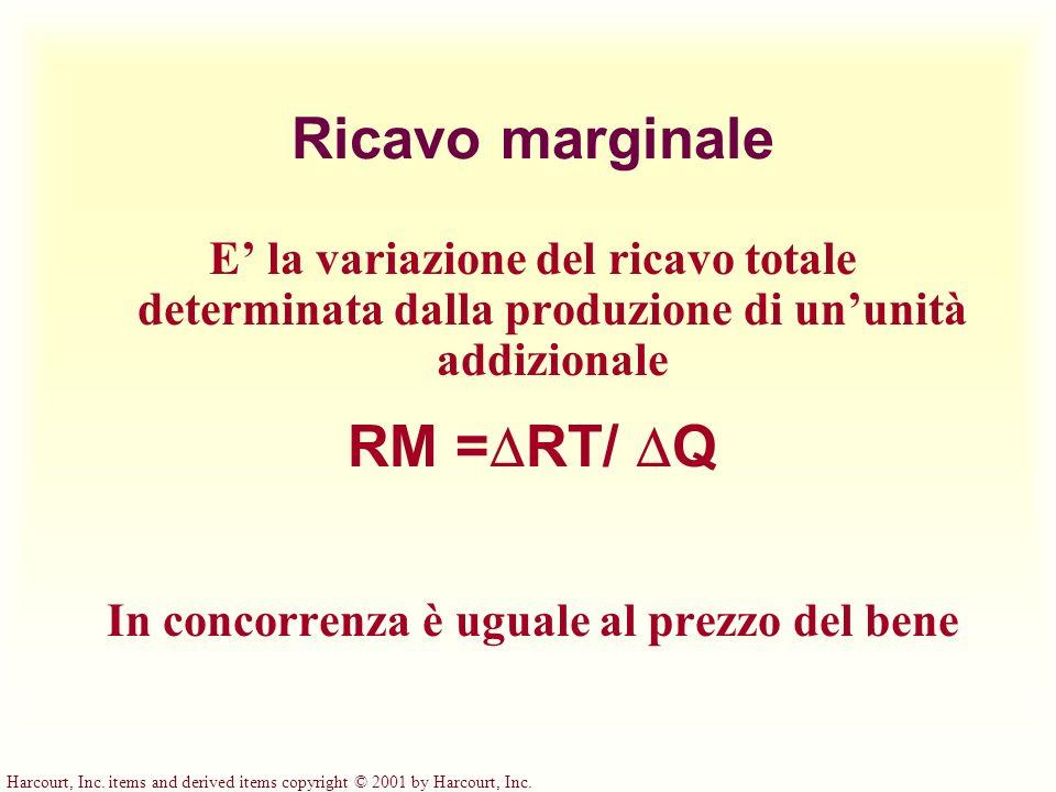 Harcourt, Inc. items and derived items copyright © 2001 by Harcourt, Inc. Ricavo marginale E la variazione del ricavo totale determinata dalla produzi