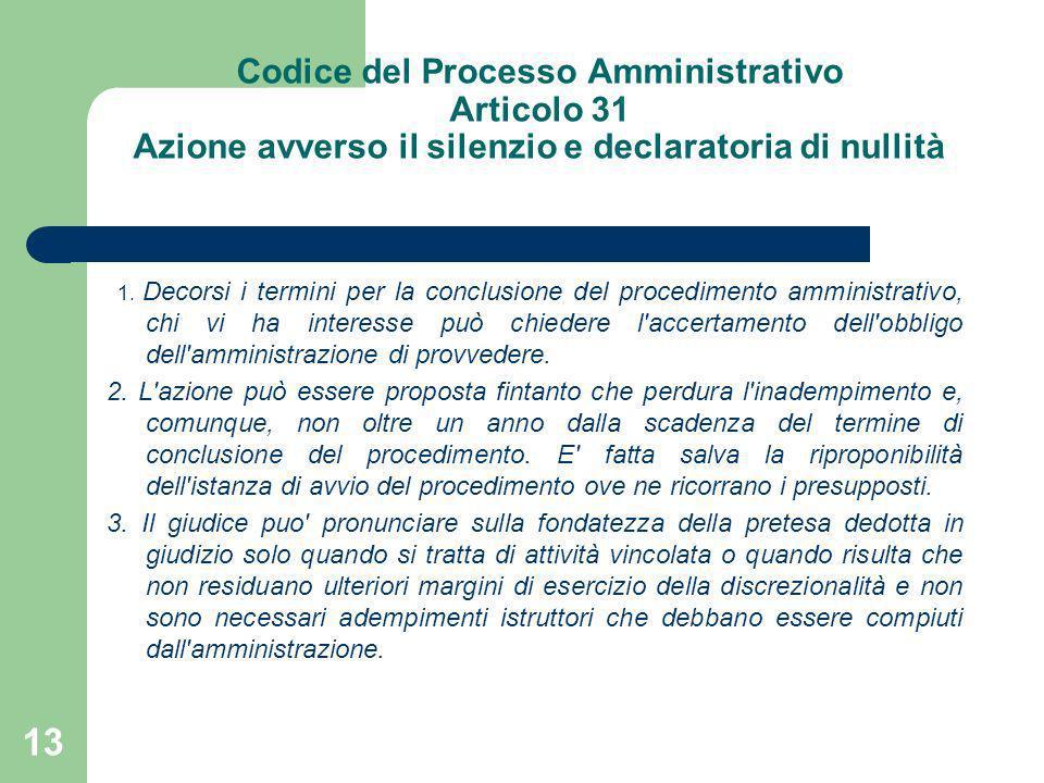 Codice del Processo Amministrativo Articolo 31 Azione avverso il silenzio e declaratoria di nullità 1. Decorsi i termini per la conclusione del proced