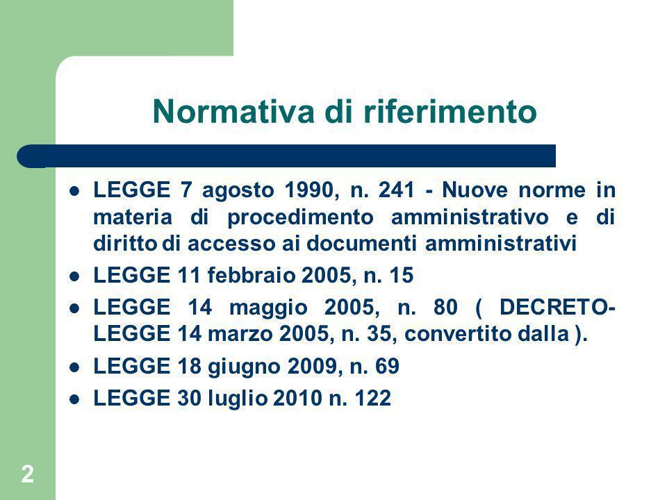 2 Normativa di riferimento LEGGE 7 agosto 1990, n. 241 - Nuove norme in materia di procedimento amministrativo e di diritto di accesso ai documenti am