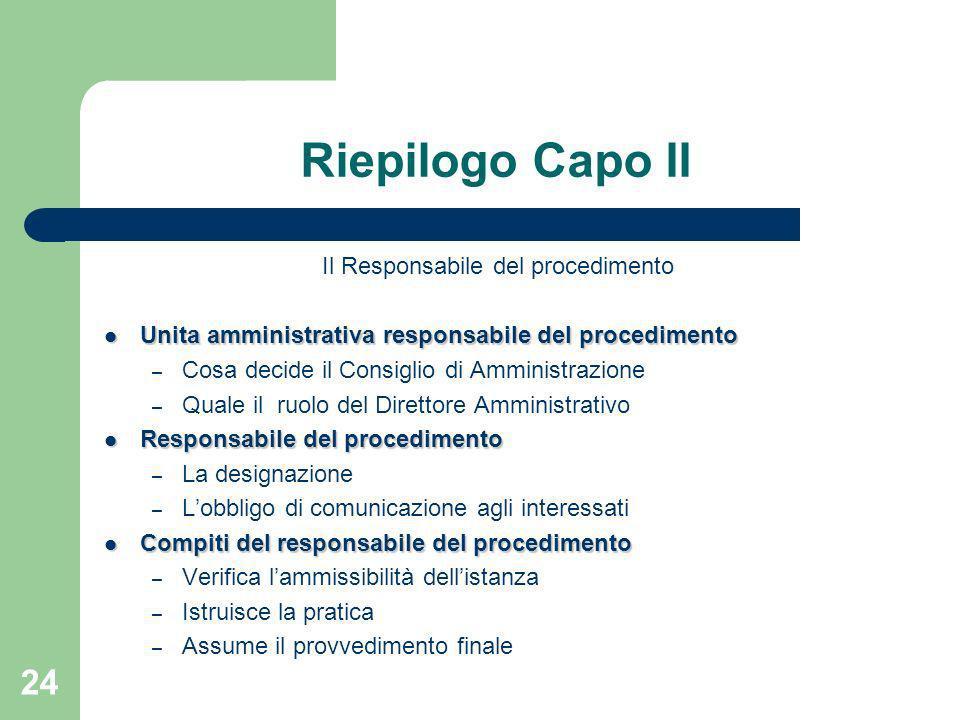 24 Riepilogo Capo II Il Responsabile del procedimento Unita amministrativa responsabile del procedimento Unita amministrativa responsabile del procedi