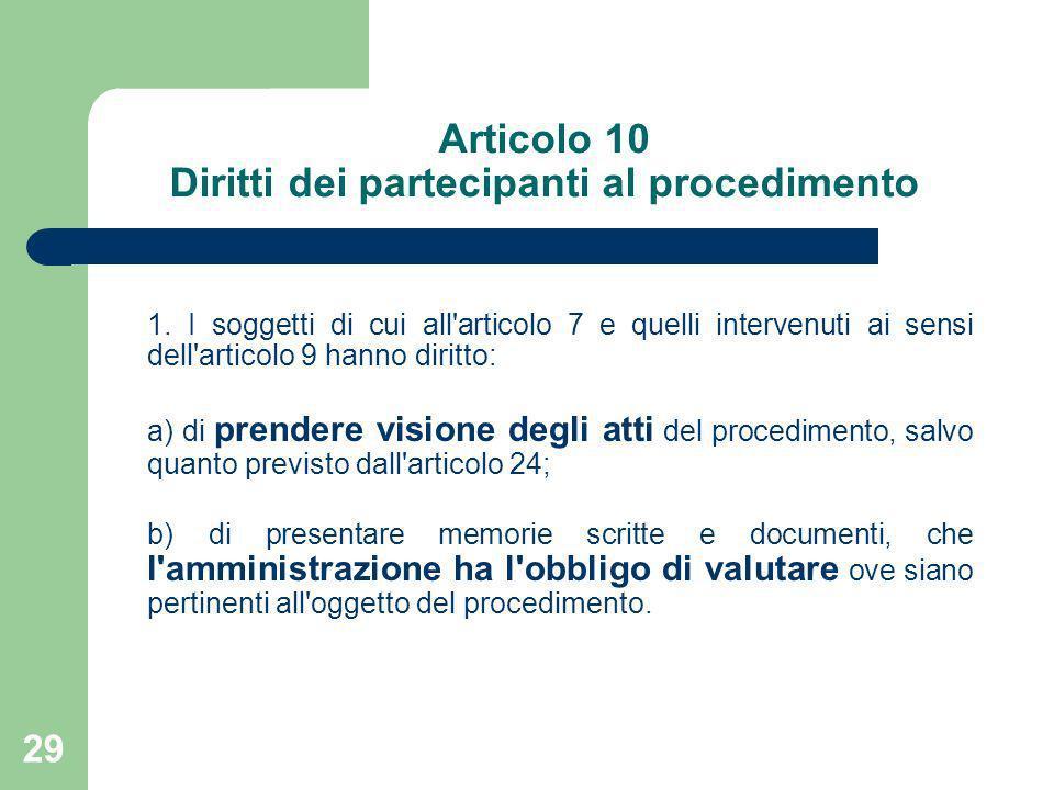29 Articolo 10 Diritti dei partecipanti al procedimento 1. I soggetti di cui all'articolo 7 e quelli intervenuti ai sensi dell'articolo 9 hanno diritt