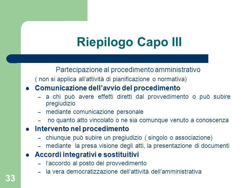 33 Riepilogo Capo III Partecipazione al procedimento amministrativo ( non si applica allattività di pianificazione o normativa) Comunicazione dellavvi