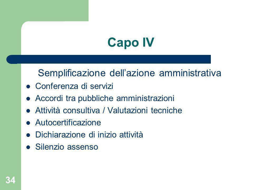 34 Capo IV Semplificazione dellazione amministrativa Conferenza di servizi Accordi tra pubbliche amministrazioni Attività consultiva / Valutazioni tec