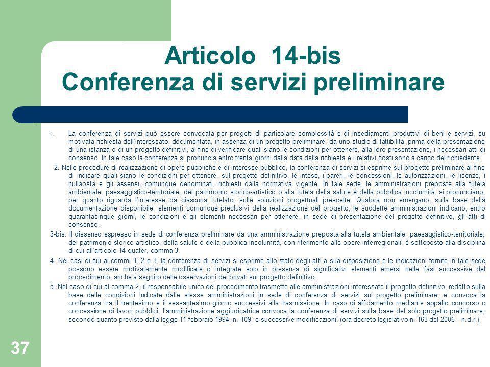 Articolo 14-bis Conferenza di servizi preliminare 1. La conferenza di servizi può essere convocata per progetti di particolare complessità e di insedi