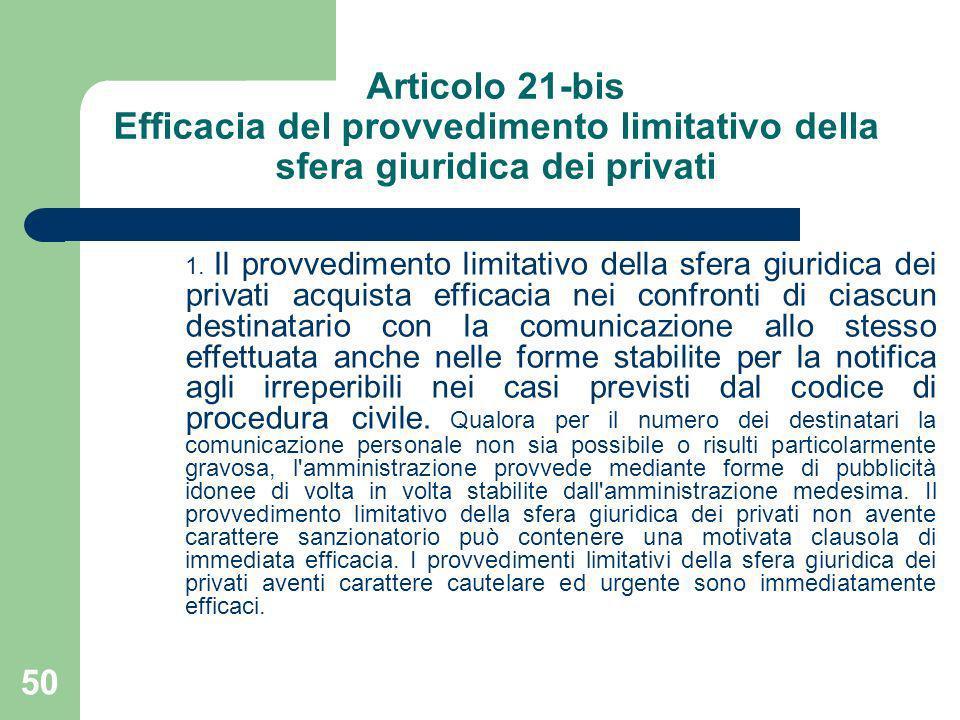 50 Articolo 21-bis Efficacia del provvedimento limitativo della sfera giuridica dei privati 1. Il provvedimento limitativo della sfera giuridica dei p