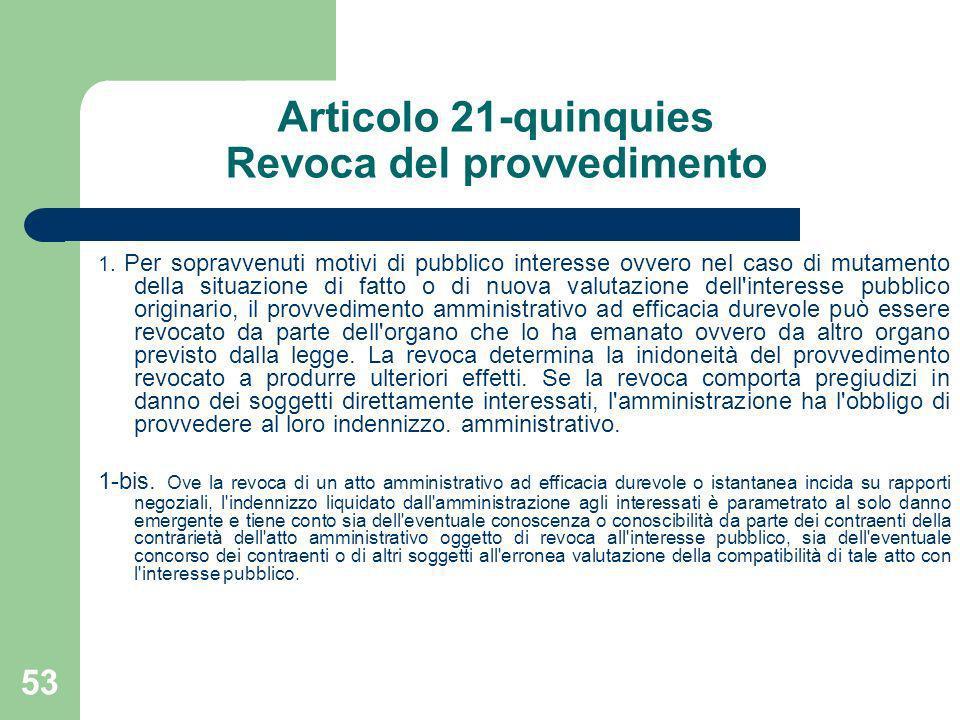 53 Articolo 21-quinquies Revoca del provvedimento 1. Per sopravvenuti motivi di pubblico interesse ovvero nel caso di mutamento della situazione di fa