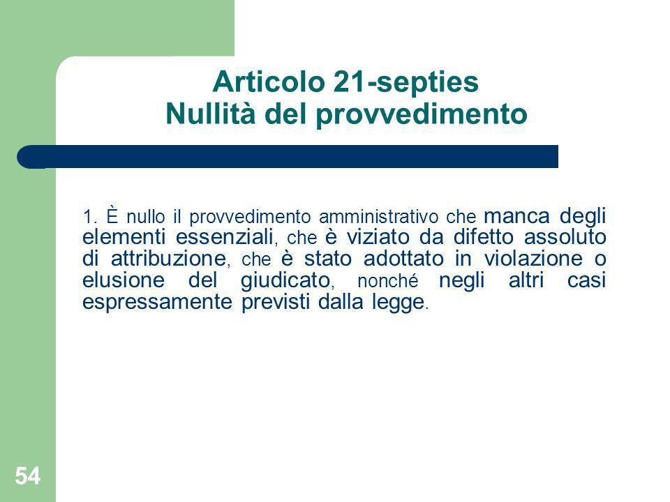 54 Articolo 21-septies Nullità del provvedimento 1. È nullo il provvedimento amministrativo che manca degli elementi essenziali, che è viziato da dife