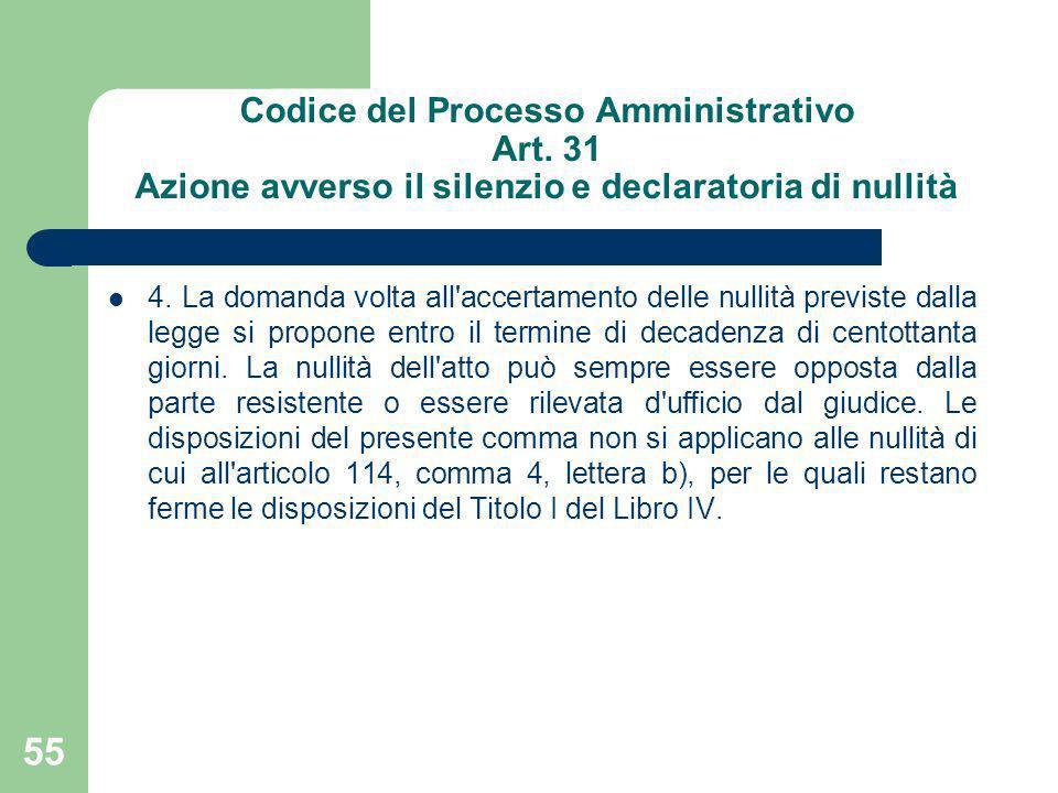 Codice del Processo Amministrativo Art. 31 Azione avverso il silenzio e declaratoria di nullità 4. La domanda volta all'accertamento delle nullità pre