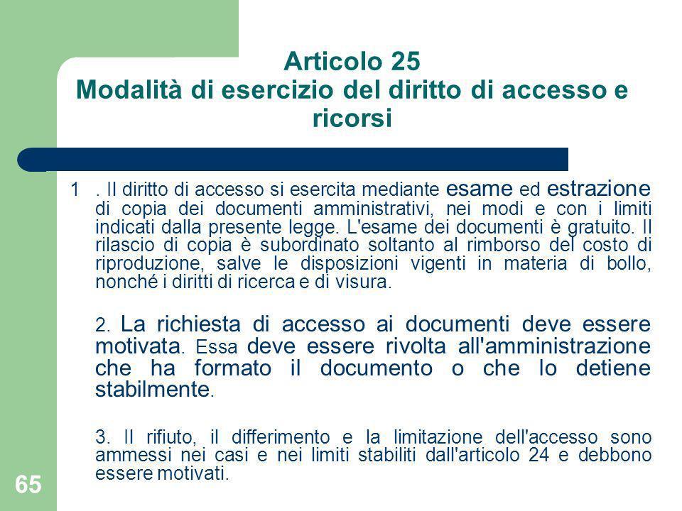 65 Articolo 25 Modalità di esercizio del diritto di accesso e ricorsi 1. Il diritto di accesso si esercita mediante esame ed estrazione di copia dei d