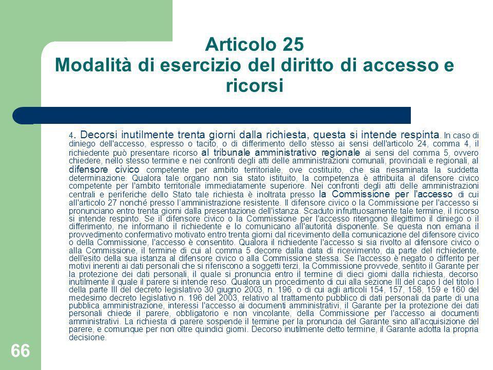 66 Articolo 25 Modalità di esercizio del diritto di accesso e ricorsi 4. Decorsi inutilmente trenta giorni dalla richiesta, questa si intende respinta