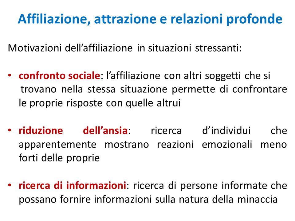 Affiliazione, attrazione e relazioni profonde Motivazioni dellaffiliazione in situazioni stressanti: confronto sociale: laffiliazione con altri sogget