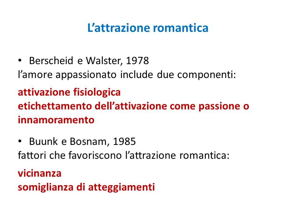 Lattrazione romantica Berscheid e Walster, 1978 lamore appassionato include due componenti: attivazione fisiologica etichettamento dellattivazione com