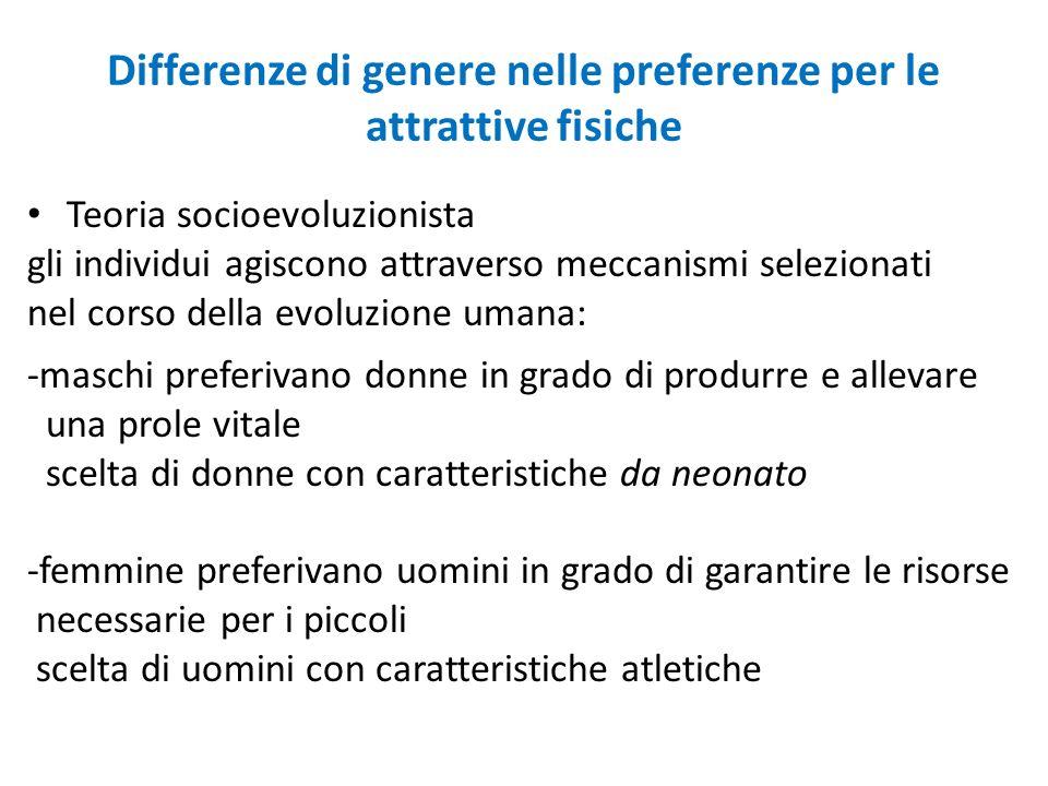 Differenze di genere nelle preferenze per le attrattive fisiche Teoria socioevoluzionista gli individui agiscono attraverso meccanismi selezionati nel