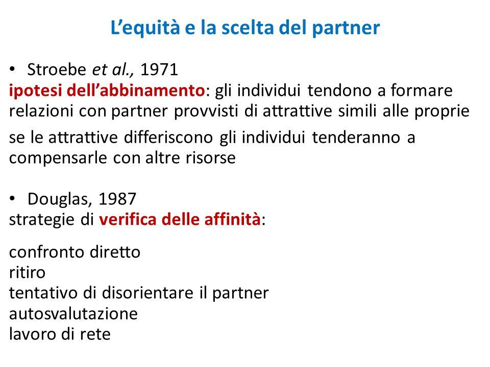 Lequità e la scelta del partner Stroebe et al., 1971 ipotesi dellabbinamento: gli individui tendono a formare relazioni con partner provvisti di attra