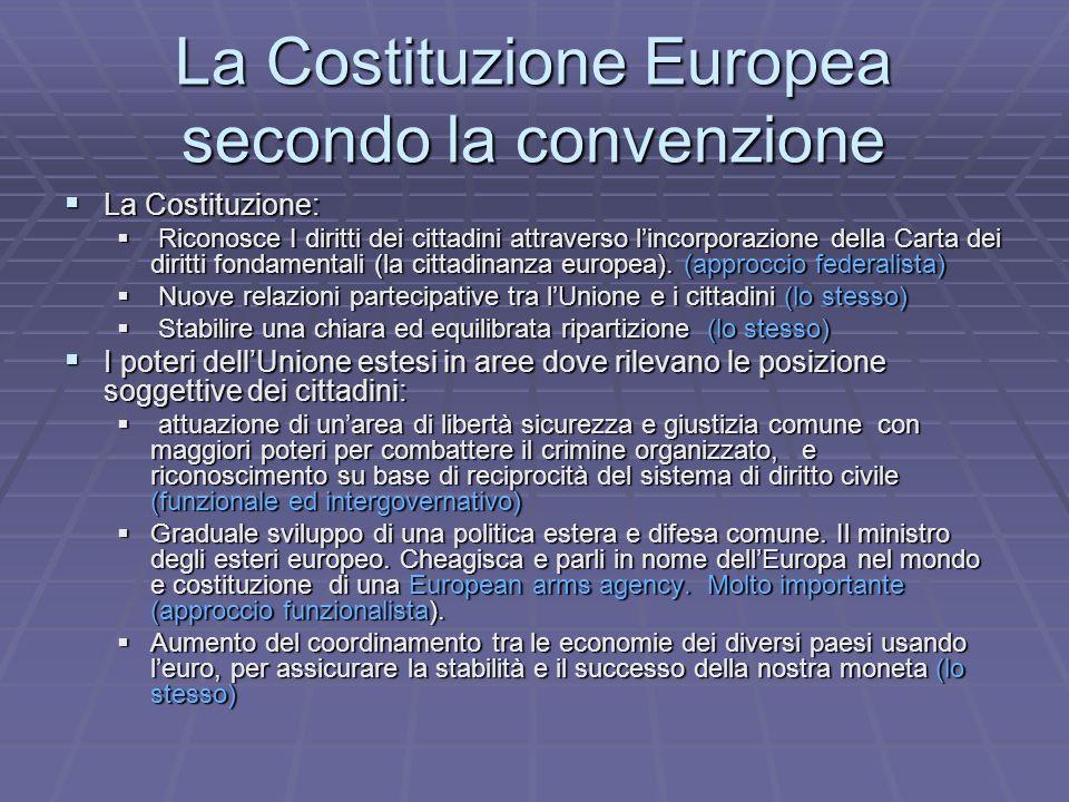La Costituzione Europea secondo la convenzione La Costituzione: La Costituzione: Riconosce I diritti dei cittadini attraverso lincorporazione della Carta dei diritti fondamentali (la cittadinanza europea).