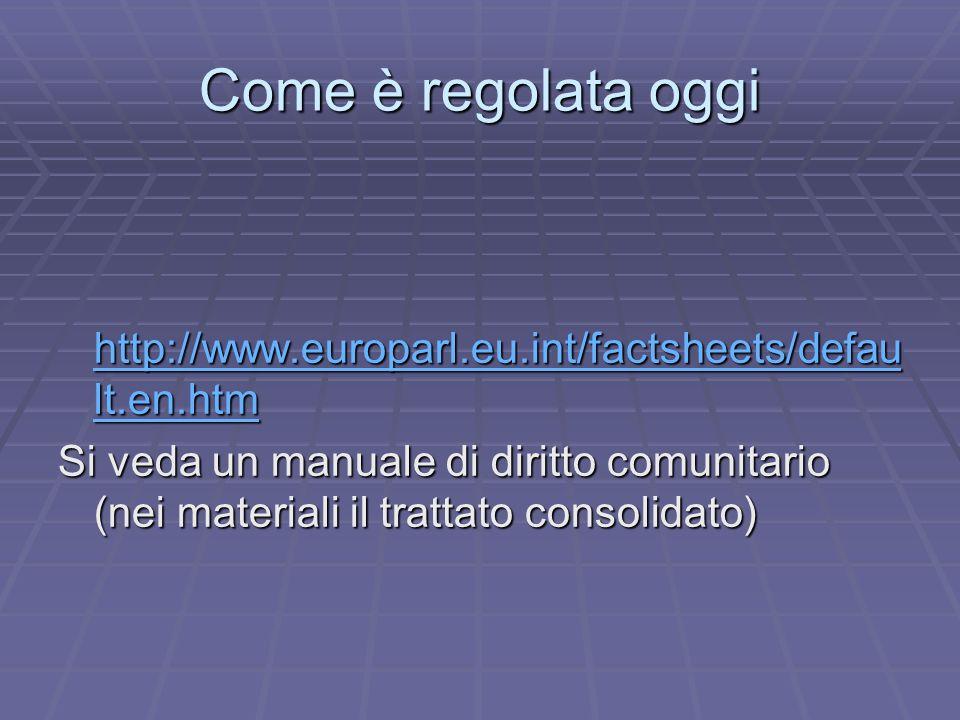 Come è regolata oggi http://www.europarl.eu.int/factsheets/defau lt.en.htm http://www.europarl.eu.int/factsheets/defau lt.en.htm http://www.europarl.eu.int/factsheets/defau lt.en.htm http://www.europarl.eu.int/factsheets/defau lt.en.htm Si veda un manuale di diritto comunitario (nei materiali il trattato consolidato)