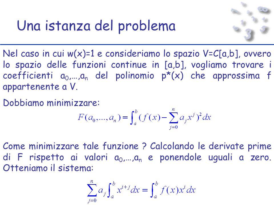 Una istanza del problema Nel caso in cui w(x)=1 e consideriamo lo spazio V=C[a,b], ovvero lo spazio delle funzioni continue in [a,b], vogliamo trovare i coefficienti a 0,…,a n del polinomio p*(x) che approssima f appartenente a V.