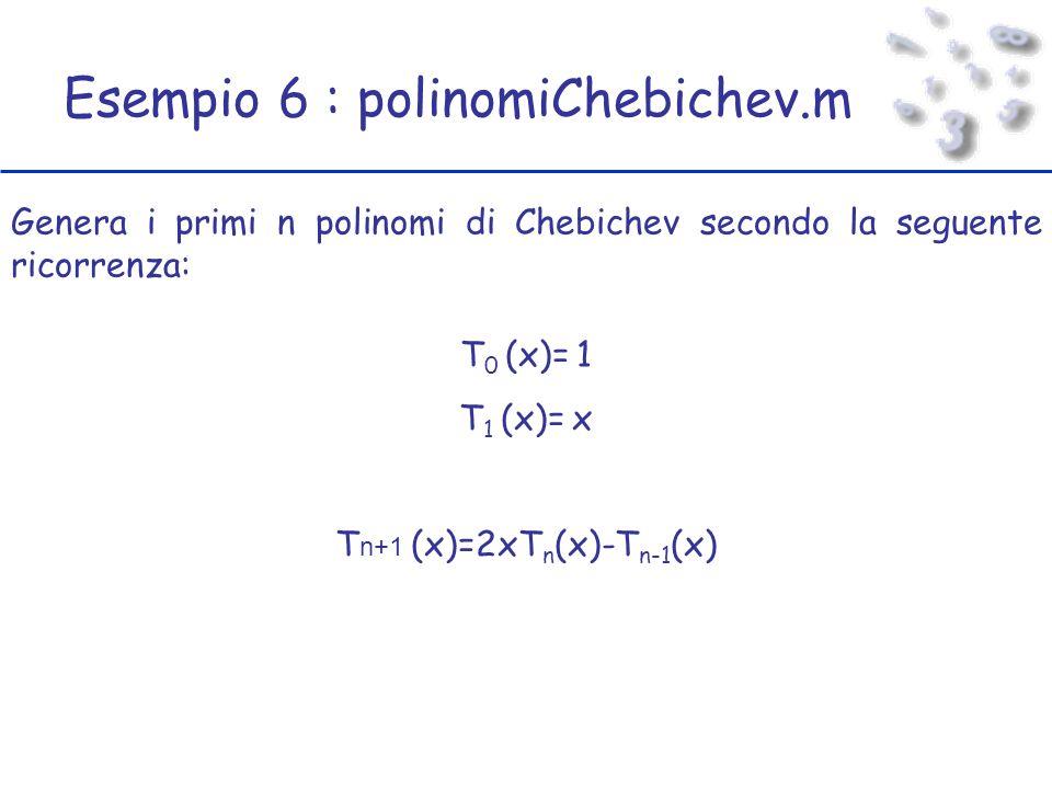 Esempio 6 : polinomiChebichev.m Genera i primi n polinomi di Chebichev secondo la seguente ricorrenza: T 0 (x)= 1 T 1 (x)= x T n+1 (x)=2xT n (x)-T n-1 (x)