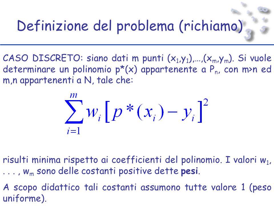 Definizione del problema (richiamo) CASO DISCRETO: siano dati m punti (x 1,y 1 ),…,(x m,y m ).