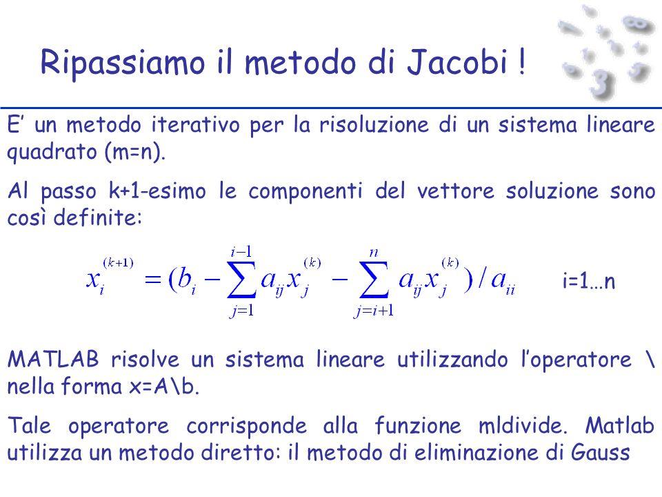 Ripassiamo il metodo di Jacobi .