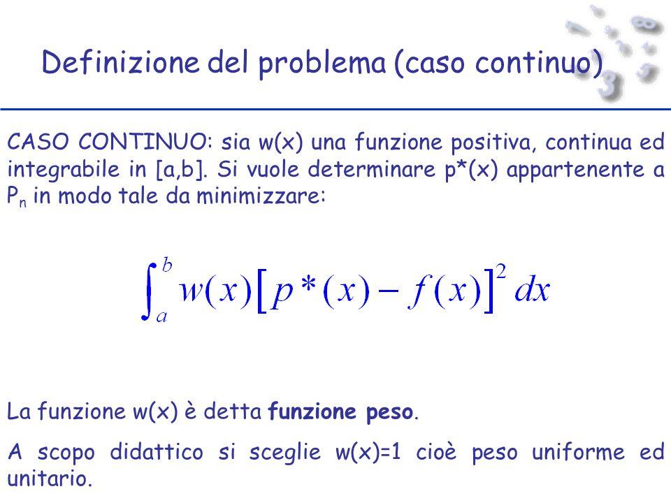 Definizione del problema (caso continuo) CASO CONTINUO: sia w(x) una funzione positiva, continua ed integrabile in [a,b].