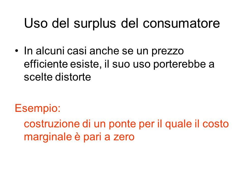 Uso del surplus del consumatore In alcuni casi anche se un prezzo efficiente esiste, il suo uso porterebbe a scelte distorte Esempio: costruzione di u