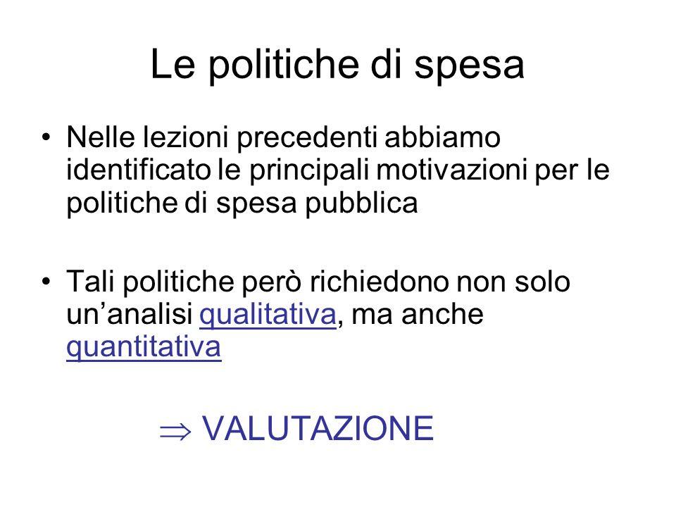 Le politiche di spesa Nelle lezioni precedenti abbiamo identificato le principali motivazioni per le politiche di spesa pubblica Tali politiche però r