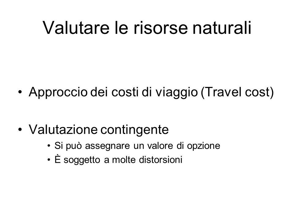 Valutare le risorse naturali Approccio dei costi di viaggio (Travel cost) Valutazione contingente Si può assegnare un valore di opzione È soggetto a m