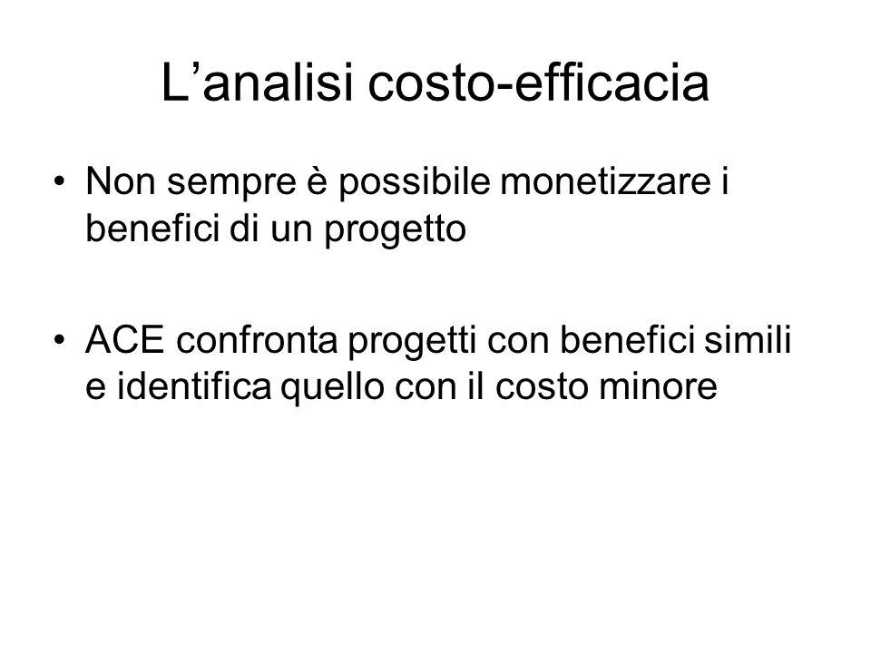 Lanalisi costo-efficacia Non sempre è possibile monetizzare i benefici di un progetto ACE confronta progetti con benefici simili e identifica quello c