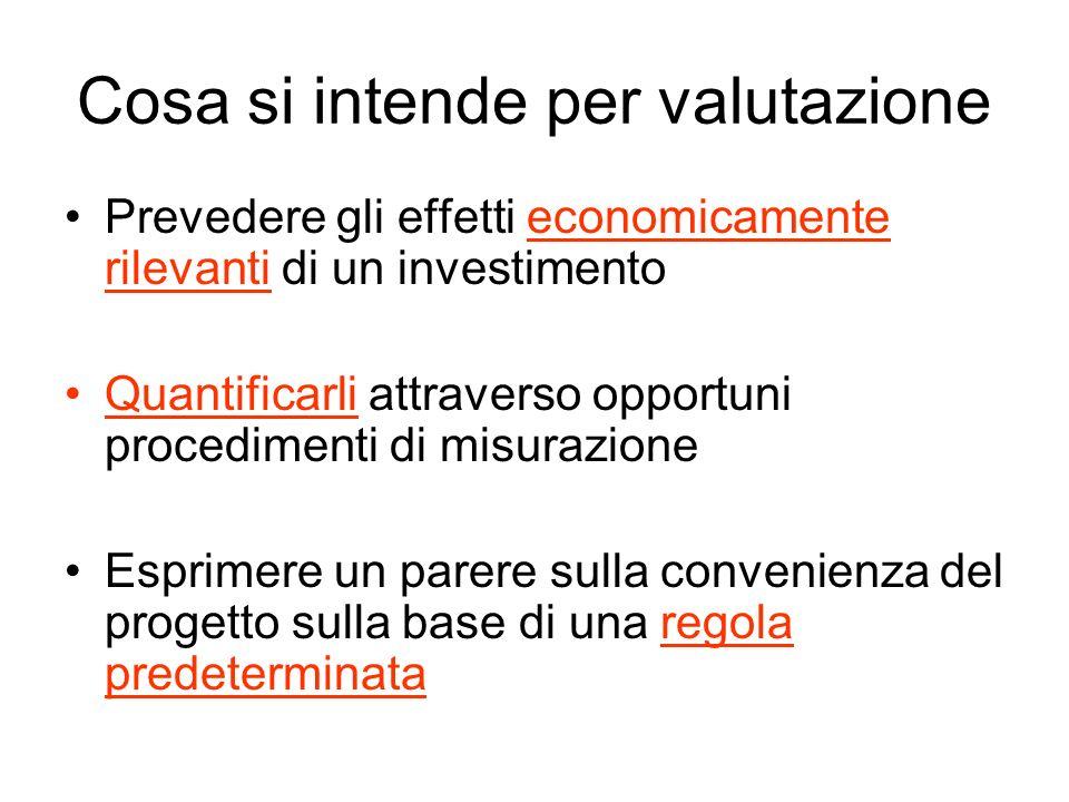 Cosa si intende per valutazione Prevedere gli effetti economicamente rilevanti di un investimento Quantificarli attraverso opportuni procedimenti di m
