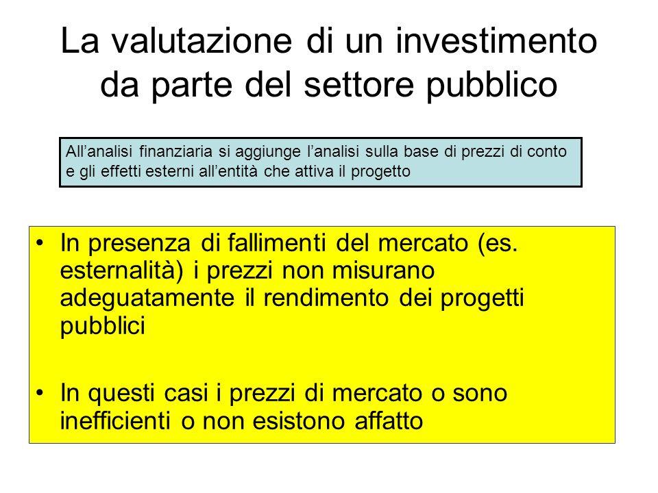 La valutazione di un investimento da parte del settore pubblico In presenza di fallimenti del mercato (es. esternalità) i prezzi non misurano adeguata