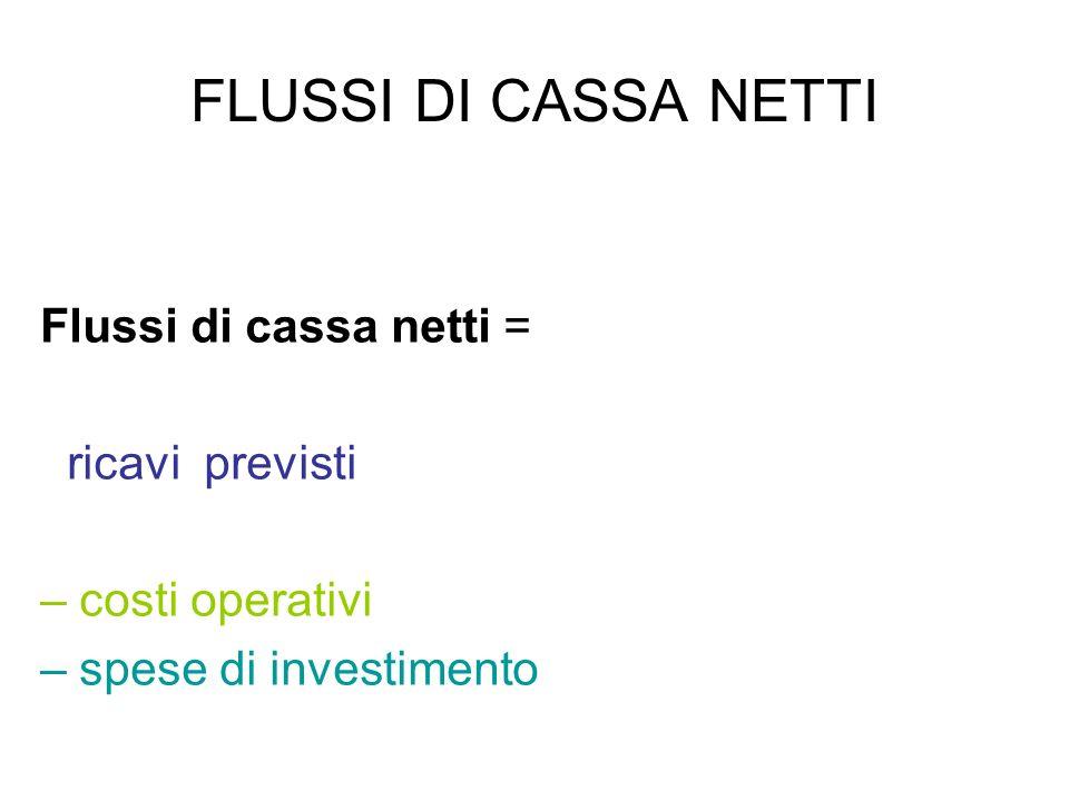 FLUSSI DI CASSA NETTI Flussi di cassa netti = ricavi previsti – costi operativi – spese di investimento