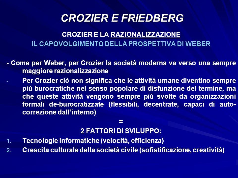 CROZIER E LA RAZIONALIZZAZIONE IL CAPOVOLGIMENTO DELLA PROSPETTIVA DI WEBER - Come per Weber, per Crozier la società moderna va verso una sempre maggi