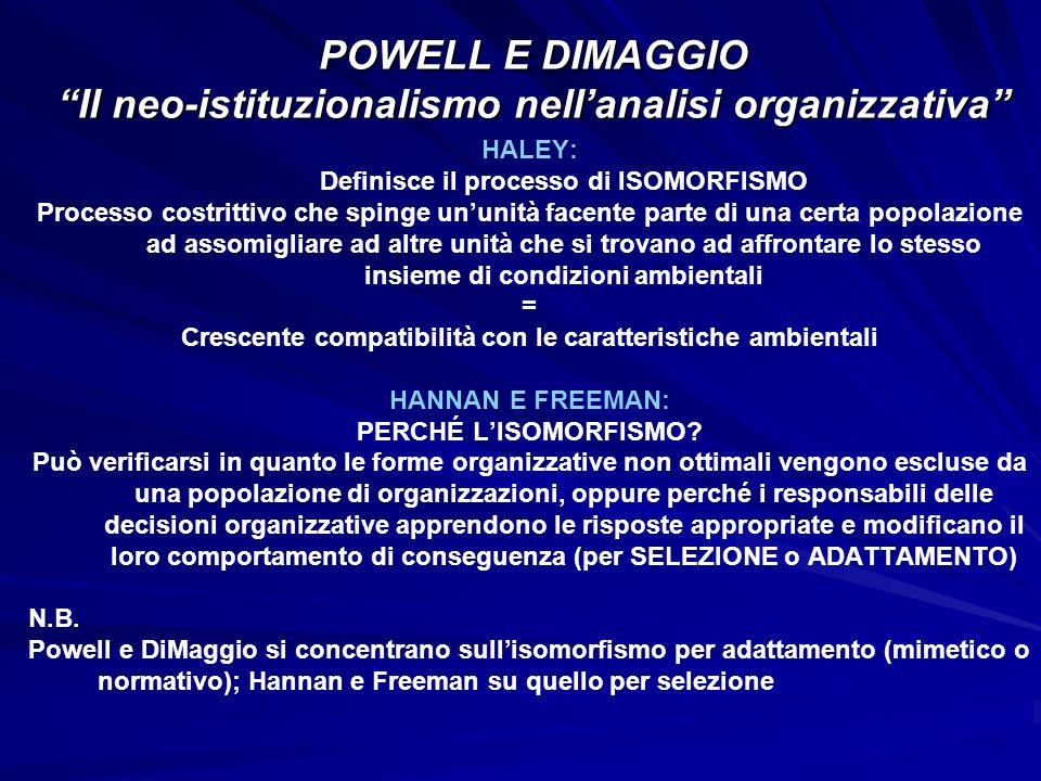 HALEY: Definisce il processo di ISOMORFISMO Processo costrittivo che spinge ununità facente parte di una certa popolazione ad assomigliare ad altre un