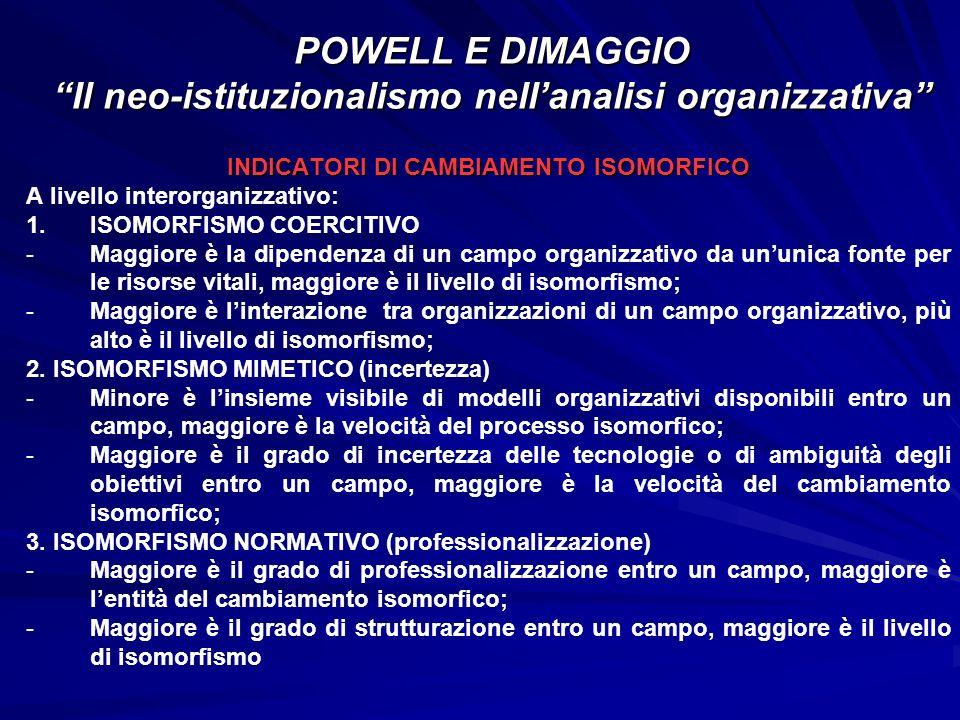 INDICATORI DI CAMBIAMENTO ISOMORFICO A livello interorganizzativo: 1. 1.ISOMORFISMO COERCITIVO - -Maggiore è la dipendenza di un campo organizzativo d