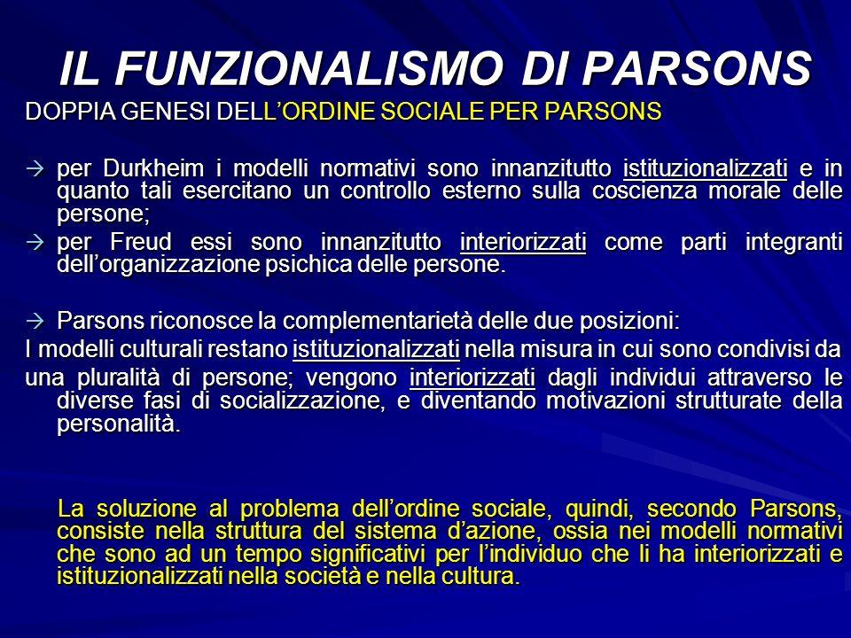 DOPPIA GENESI DELLORDINE SOCIALE PER PARSONS per Durkheim i modelli normativi sono innanzitutto istituzionalizzati e in quanto tali esercitano un cont