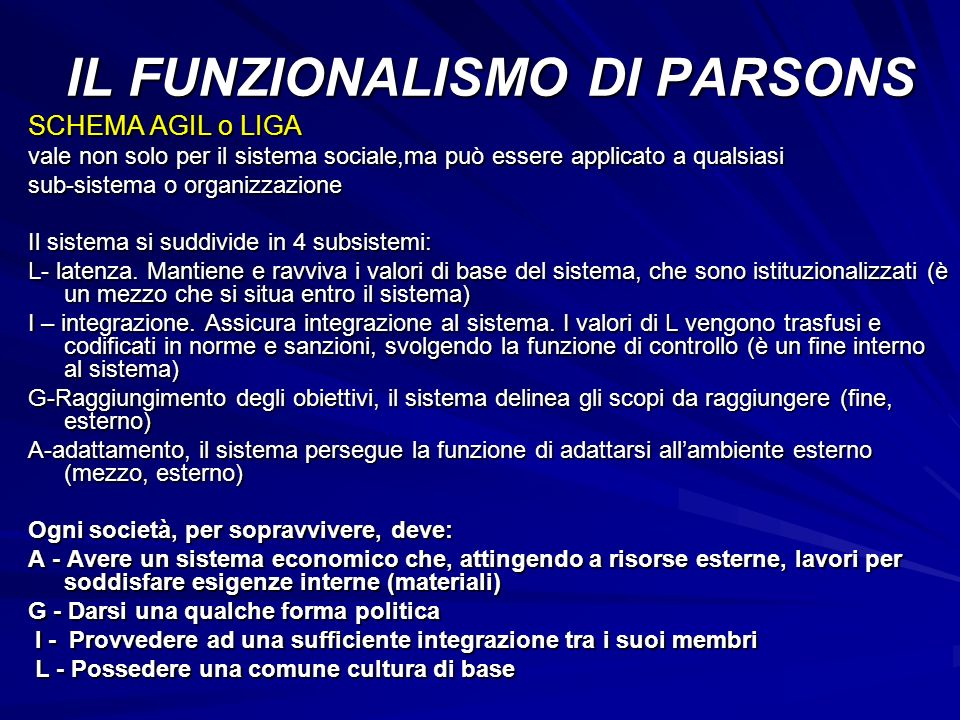 SCHEMA AGIL o LIGA vale non solo per il sistema sociale,ma può essere applicato a qualsiasi sub-sistema o organizzazione Il sistema si suddivide in 4