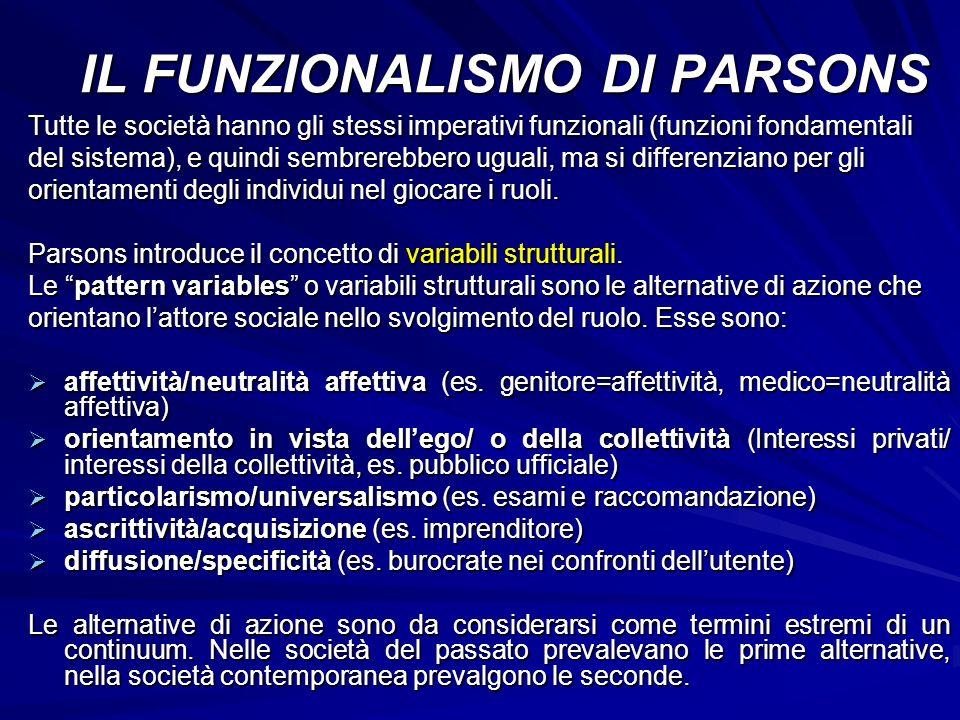 Tutte le società hanno gli stessi imperativi funzionali (funzioni fondamentali del sistema), e quindi sembrerebbero uguali, ma si differenziano per gl