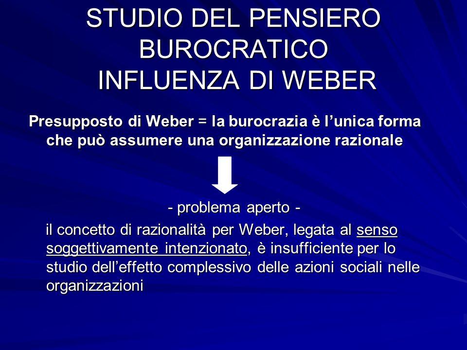 STUDIO DEL PENSIERO BUROCRATICO INFLUENZA DI WEBER Presupposto di Weber = la burocrazia è lunica forma che può assumere una organizzazione razionale -