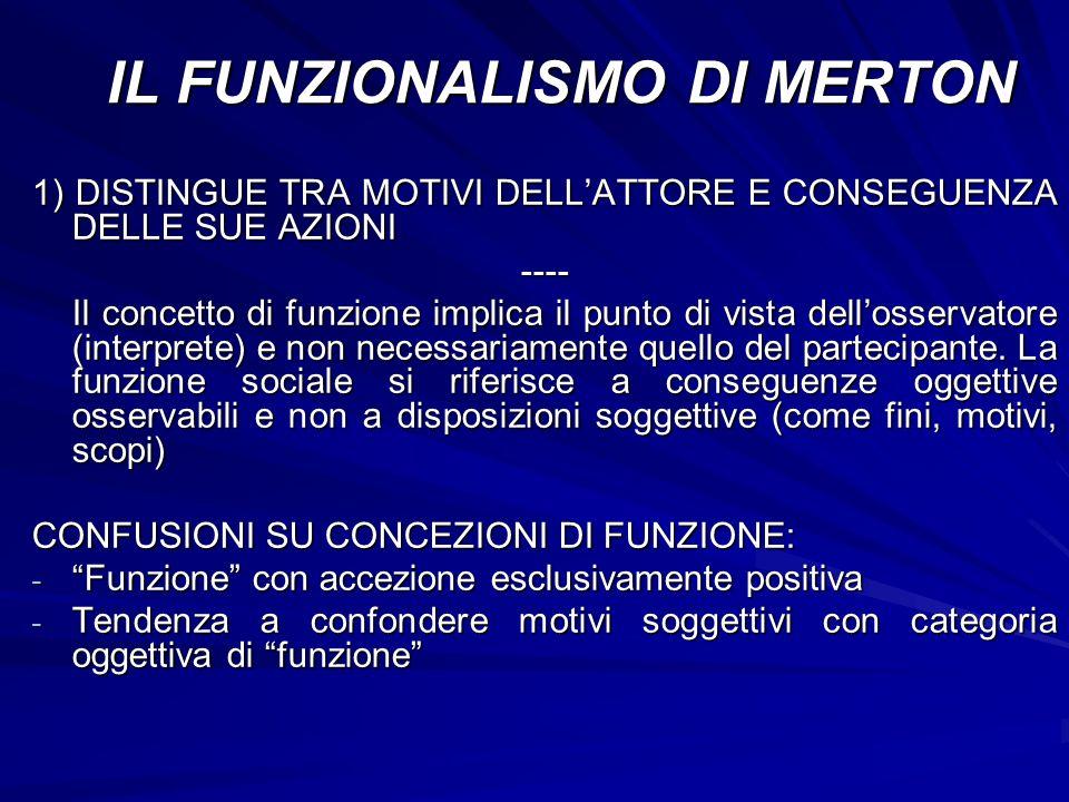 1) DISTINGUE TRA MOTIVI DELLATTORE E CONSEGUENZA DELLE SUE AZIONI ---- Il concetto di funzione implica il punto di vista dellosservatore (interprete)