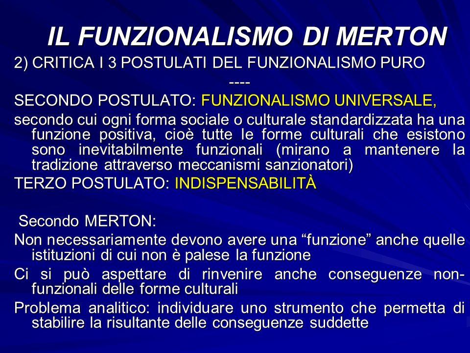 2) CRITICA I 3 POSTULATI DEL FUNZIONALISMO PURO ---- SECONDO POSTULATO: FUNZIONALISMO UNIVERSALE, secondo cui ogni forma sociale o culturale standardi