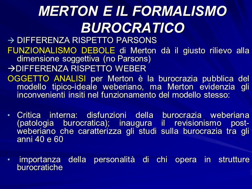 DIFFERENZA RISPETTO PARSONS DIFFERENZA RISPETTO PARSONS FUNZIONALISMO DEBOLE di Merton dà il giusto rilievo alla dimensione soggettiva (no Parsons) DI