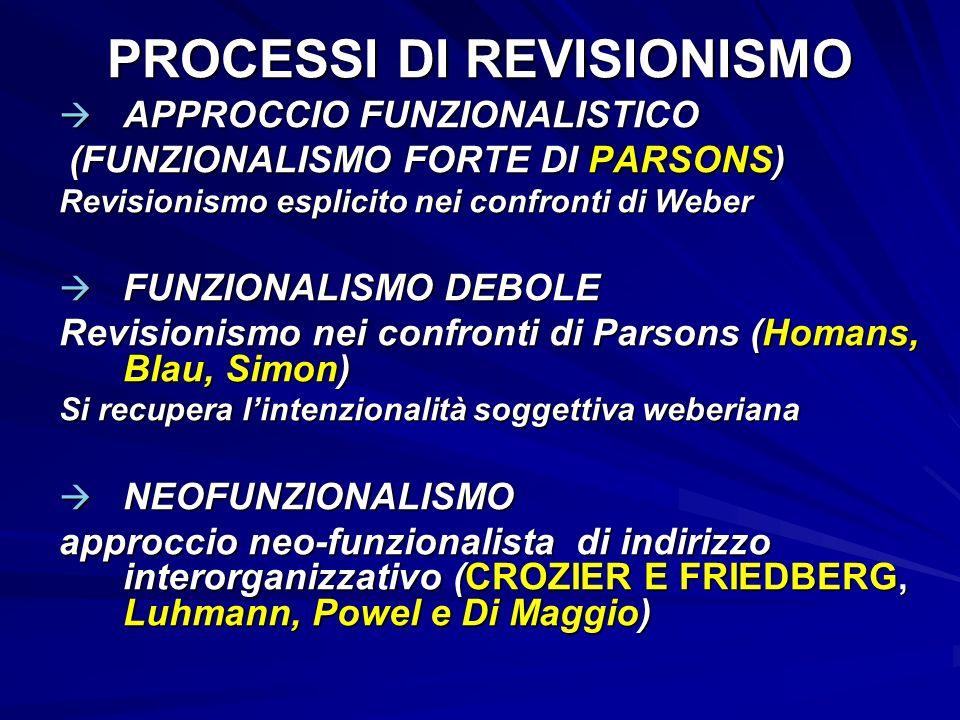 PROCESSI DI REVISIONISMO APPROCCIO FUNZIONALISTICO APPROCCIO FUNZIONALISTICO (FUNZIONALISMO FORTE DI PARSONS) (FUNZIONALISMO FORTE DI PARSONS) Revisio