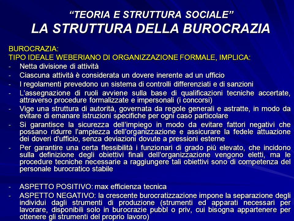 BUROCRAZIA: TIPO IDEALE WEBERIANO DI ORGANIZZAZIONE FORMALE, IMPLICA: - Netta divisione di attività - Ciascuna attività è considerata un dovere ineren